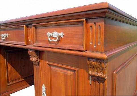 Antik Gründerzeit Schreibtisch Schubladen Kannelierung und Kassette