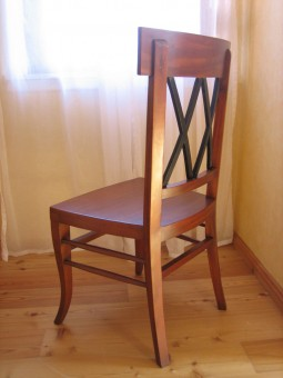 Kirschbaum antik Biedermeier Stuhl Rückansicht